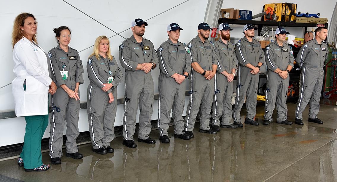 Line of pilots standing